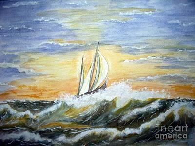 Rough Seas Poster by Carol Grimes