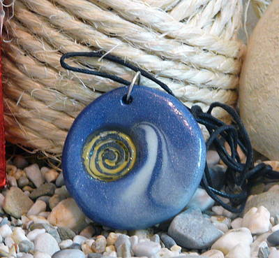 Round Blue Pendant With Spiral Poster by Chara Giakoumaki