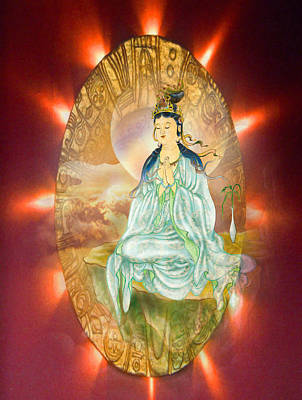 Round Halo Kuan Yin Poster by Lanjee Chee