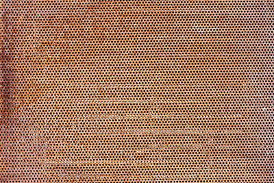 Round Holes In A Rusty Steel Sheet Poster