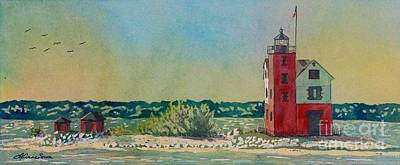 Poster featuring the painting Round Island Lighthouse by LeAnne Sowa