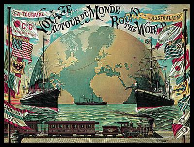 Round The World Voyage Poster by A Schindeler