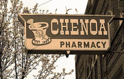 Route 66 - Chenoa Pharmacy Sepia Poster by Frank Romeo