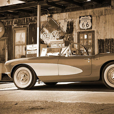 Route 66 - Classic Vette Poster by Mike McGlothlen