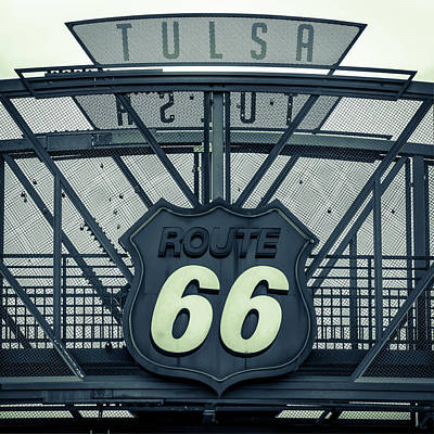Route 66 Neon Sign - Police Dept Colors - Tulsa Oklahoma Poster by Gregory Ballos