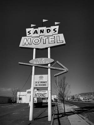 Route 66 - Sands Motel Sign 001 Bw Poster by Lance Vaughn