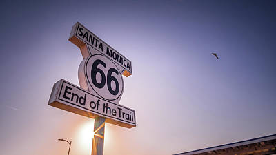 Route 66 Sign - Santa Monica, Los Angeles - Travel Photography Poster