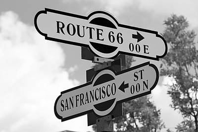 Route 66 Street Sign Black And White Poster by Phyllis Denton