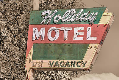 Poster featuring the photograph Route 66 Vintage Americana Holiday Motel by JC Findley