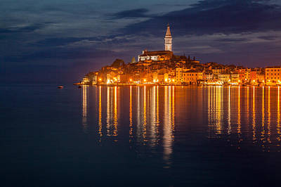 Rovinj By Night Poster by Davorin Mance