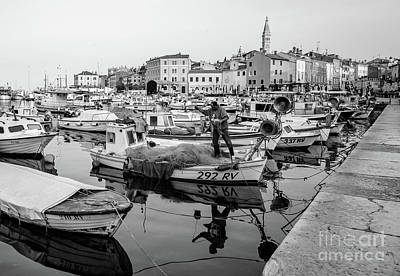 Rovinj Fisherman Working In Old Town Harbor - Rovinj, Istria, Croatia Poster