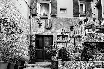 Rovinj Old Town Courtyard In Black And White, Rovinj Croatia Poster