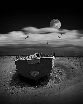 Row Boat On A Sandy Beach In Biscayne Bay Florida With Flying Gulls Under The Moon  Poster
