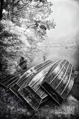 Row Boats On Blue Ridge Parkway Price Lake Bw Poster by Dan Carmichael