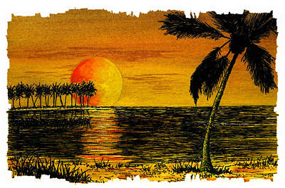 Row Of Palm Trees Poster by Michael Vigliotti