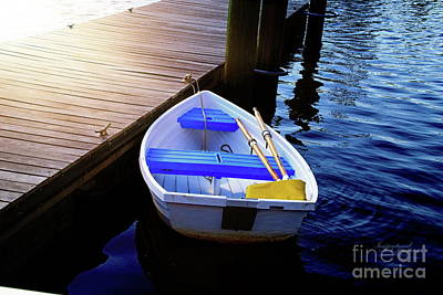 Rowboat At Sunset Poster by Inspirational Photo Creations Audrey Woods