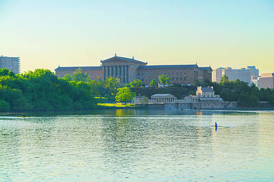 Rowing In Front Of The Philadelphia Art Museum Poster by Bill Cannon