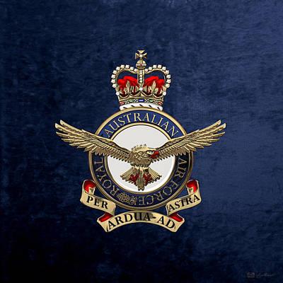 Royal Australian Air Force -  R A A F  Badge Over Blue Velvet Poster