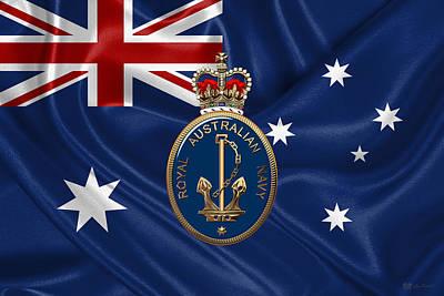 Royal Australian Navy -  R A N  Badge Over Australian Flag Poster by Serge Averbukh