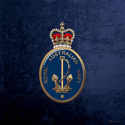 Royal Australian Navy -  R A N  Badge Over Blue Velvet Poster by Serge Averbukh