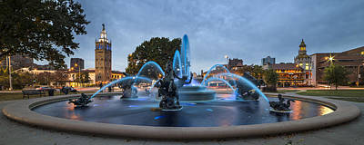 Royal Blue Fountain Poster