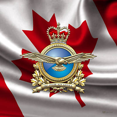 Royal Canadian Air Force Badge Over Waving Flag Poster