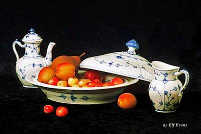 Poster featuring the photograph Royal Copenhagen And Fruits by Elf Evans