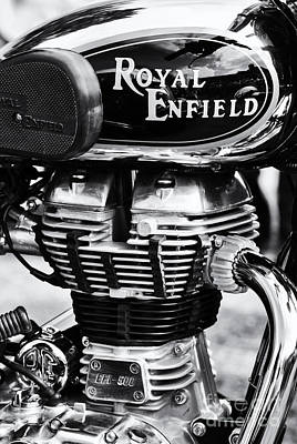 Royal Enfield Bullet 500 Monochrome Poster by Tim Gainey