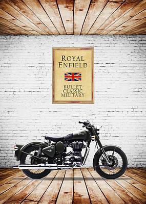 Royal Enfield Classic Military Poster by Mark Rogan
