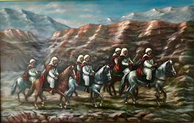 Poster featuring the painting Royal Knights by Laila Awad Jamaleldin