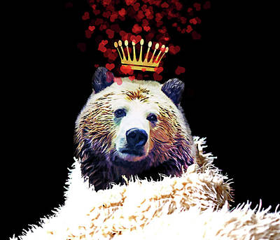 Royal Love Grizzly Bear, Golden Crown Of Hearts Poster by Tina Lavoie