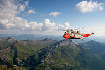 Poster featuring the digital art Royal Navy Sar Sea King by Pat Speirs