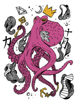 Royal Octopus Pink And Gold Poster by Kenal Louis