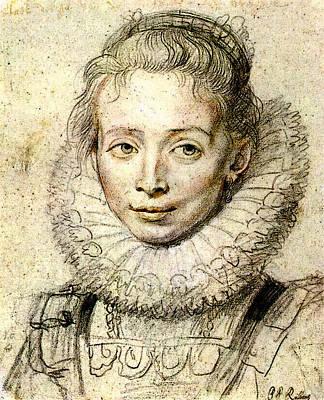 Rubens Portrait Of A Chambermaid Chalk Poster by Peter Paul Rubens