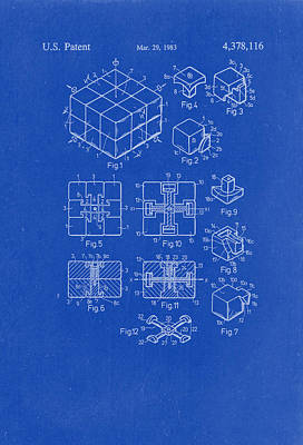 Rubix Cube Patent Drawing 1983 Blueprint Poster by Patently Artful