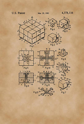 Rubix Cube Patent Drawing 1983 Vintage Poster by Patently Artful