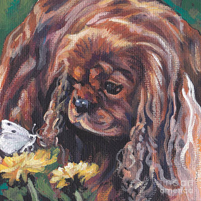 Poster featuring the painting Ruby Cavalier King Charles Spaniel by Lee Ann Shepard