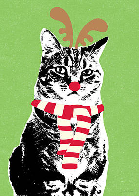 Rudolph The Red Nosed Cat- Art By Linda Woods Poster by Linda Woods
