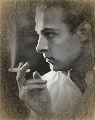 Rudolph Valentino Draw Poster by Joaquin Abella