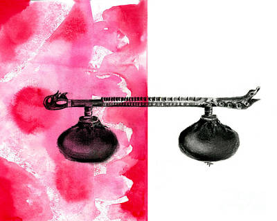 Rudra Veena - Musical Instrument - Charcoal And Ink Poster