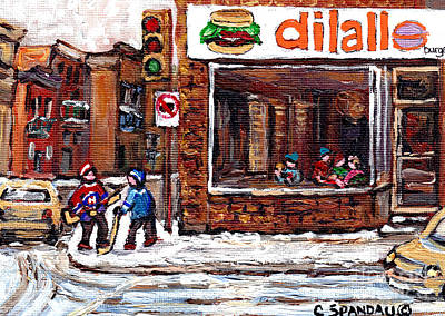 Rue Notre Dame Montreal Winter Street Scene Paintings Dilallo Burger Hockey Scenes Canadian Art Poster by Carole Spandau