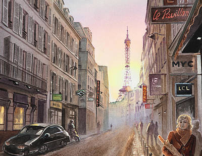 Rue Saint Dominique Paris France View On Eiffel Tower Sunset Poster by Irina Sztukowski