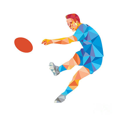 Rugby Player Kicking Ball Low Polygon Poster