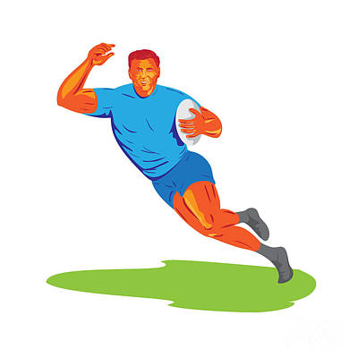 Rugby Player Running Ball Wpa Poster
