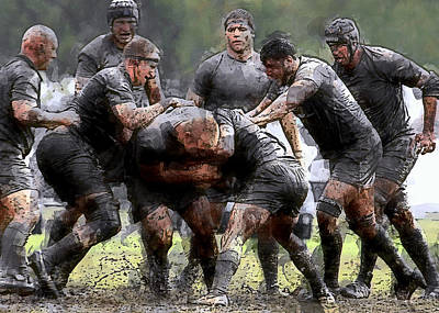 Rugby Scrum Poster by Daniel Hagerman