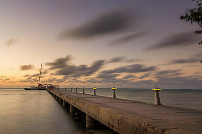Poster featuring the photograph Rum Point Grand Cayman At Dusk by Adam Romanowicz