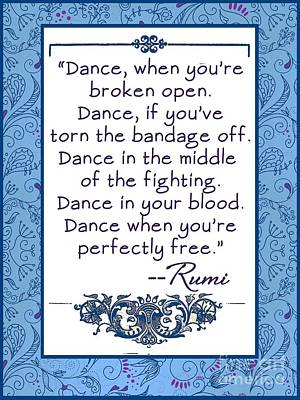 Rumi Quote Dance When You're Free Poster