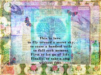 Rumi Secret Sky Quote Poster by Sansa Starlight