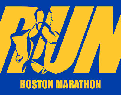Run Boston Marathon Poster by Joe Hamilton