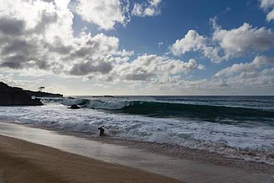 Run The Big Kahuna Is Coming - Waimea Bay Beach Fun On Oahu Hawaii Poster
